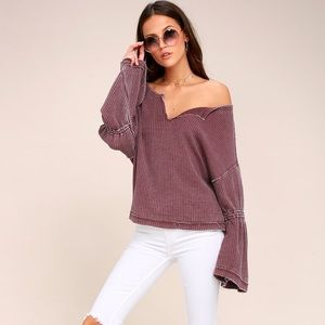 Free People Dahlia Washed Mauve Thermal Top Large